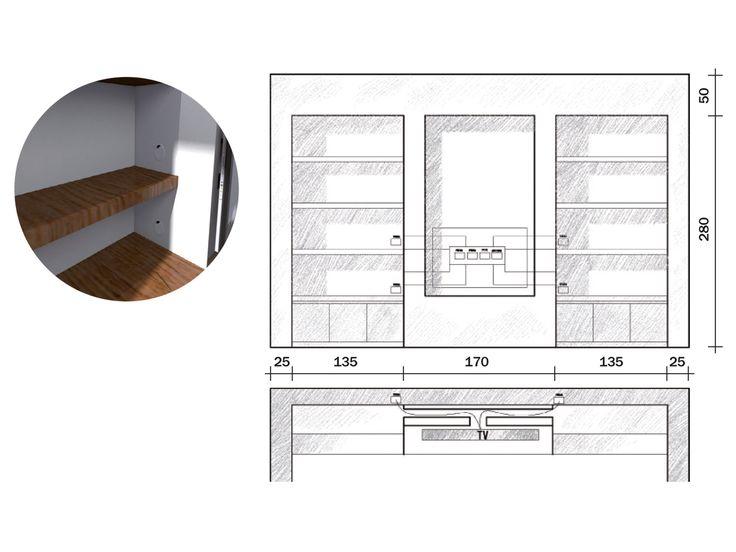 La parete libreria in cartongesso nel 2019 cartongesso for Pareti attrezzate in cartongesso foto