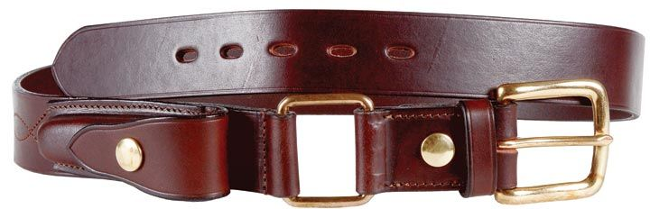 Stockman's Belt with knife pouch. Leather and brass.