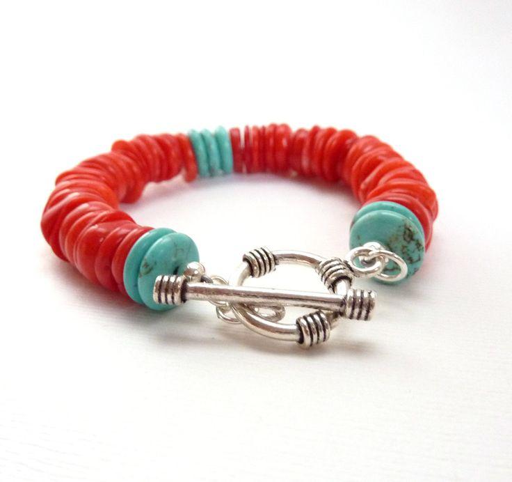 Coral & Turquoise Bracelet, Southwestern Style, Handmade Beaded Bracelet, Red, Orange, Silver, Colorful Boho Jewelry. $42.00, via Etsy.