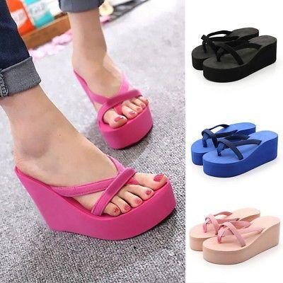 b120892d4a9 New Women Flip Flops High Heel Slippers Platform Wedge Sandals Beach Street  BJ