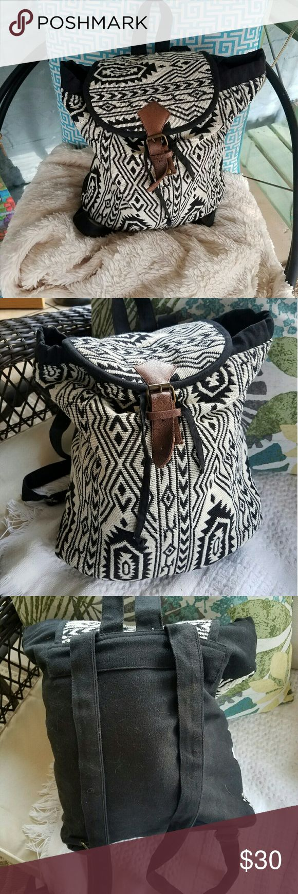 BOHEMIAN BOOKBAG World Market Fabric Bookbag  Beautiful pattern Adjustable straps  Draw pull and vegan leather buckle Bags Backpacks