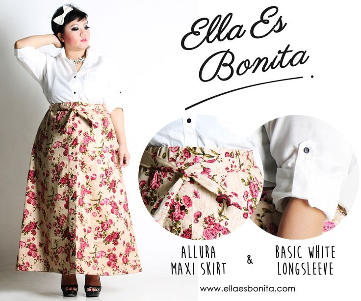 Basic white Long Sleeve & Allura Maxi Skirt - This vintage shirt and skirt features high quality cottone crepe for shirt and thick stretch twill for skirt which specially designed for sophisticated curvy women originally made by Indonesian Designer & Local Brand: Ella Es Bonita. Available at www.ellaesbonita.com