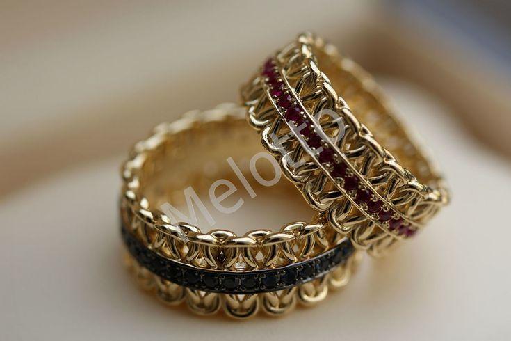 Купить Обручальные кольца с рубинами и сапфирами - обручальные кольца, свадьба, украшения из золота, Кольца на заказ