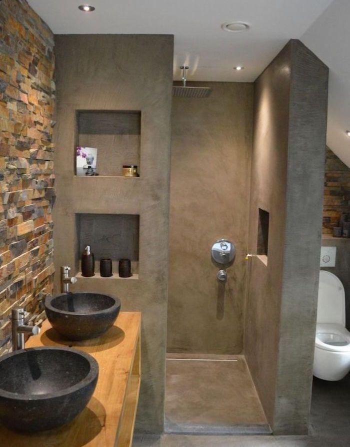 modele decoration sdb wc avec murs de douche italienne en béton gris ...