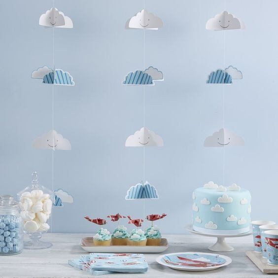 This blue and white cloud backdrop is perfect for a little boy's room, or as a background for baby shower pictures. Find it in store on Dundrum Main Street,or online at www.moss.ie