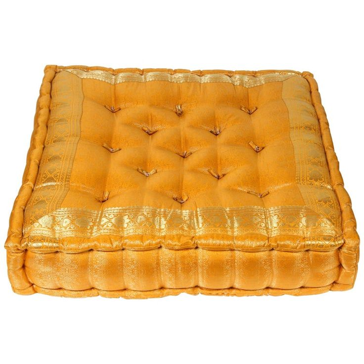 Moroccan Oversized Yellow and Gold Tufted Floor Pillow