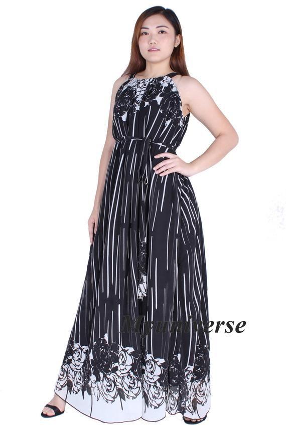 Women Plus Sizes Clothing Long Maxi Dress Floral Dress Casual Beach Party  Wedding Guest Black White Rose Chiffon Black Dress Long Sundress 2c061b185