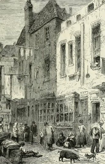 Up until the 20th century, London was filled with squalid slums known as Rookeries. The most famous was in St Giles, though other Rookeries include Rosemary Lane and Jacob's Island in Bermondsey, where Dickens's Oliver Twist villain Bill Sykes meets his end.