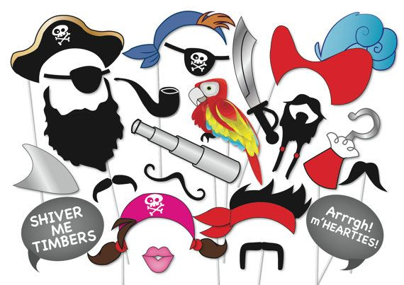 Pirate Party Photo booth Props Set - 22 Piece PRINTABLE - moustache, beard, pirate eye patch, pirate hat, hook, peter pan
