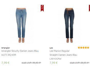 Outlet46: Damen-Jeans von Wranlger und Lee für 7,99 Euro frei Haus https://www.discountfan.de/artikel/klamotten_&_schuhe/outlet46-damen-jeans-von-wranlger-und-lee-fuer-7-99-euro-frei-haus.php Knapp 70 verschiedene Jeans-Modelle für Damen sind jetzt bei Outlet46 zu Schnäppchenpreisen von 7,99 Euro mit Versand zu haben. Mit dabei sind Top-Marken wie Wrangler und und Lee. Outlet46: Damen-Jeans von Wranlger und Lee für 7,99 Euro frei Haus (Bild: Outlet46.de) Die Damen-Jeans