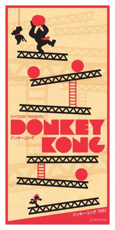 Sujet : jeux vidéo. Vintage Donkey Kong Poster