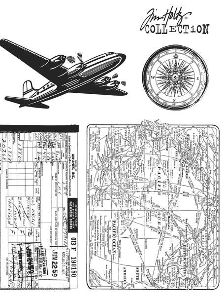 Stampers Anonymous - Tim Holtz - Cling Mounted Rubber Stamp Set - Air Travel at Scrapbook.com $17.56