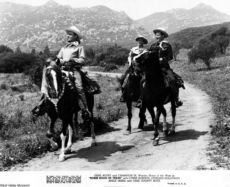 "Gene Autry and Champion Jr. starring in ""Robin Hood of Texas"" with Lynne Roberts, Sterling Holloway, Adele Mara, and Cass County Boys, 1947. The movie was filmed in Chatsworth at Chatsworth Lake.  West Valley Museum. San Fernando Valley History Digital Library.: Texas 1947, Robins Hoods, Autri Photo, Movie Westerns, Autri Iverson, Iverson Ranch Photo, Westerns Movie, Ranch Photo Above, Gene Autri"