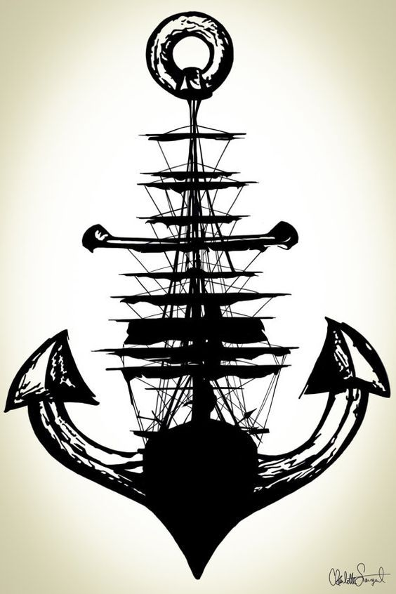 Segelschiff Anker Poster Print / / nautische Wand von Clarafornia