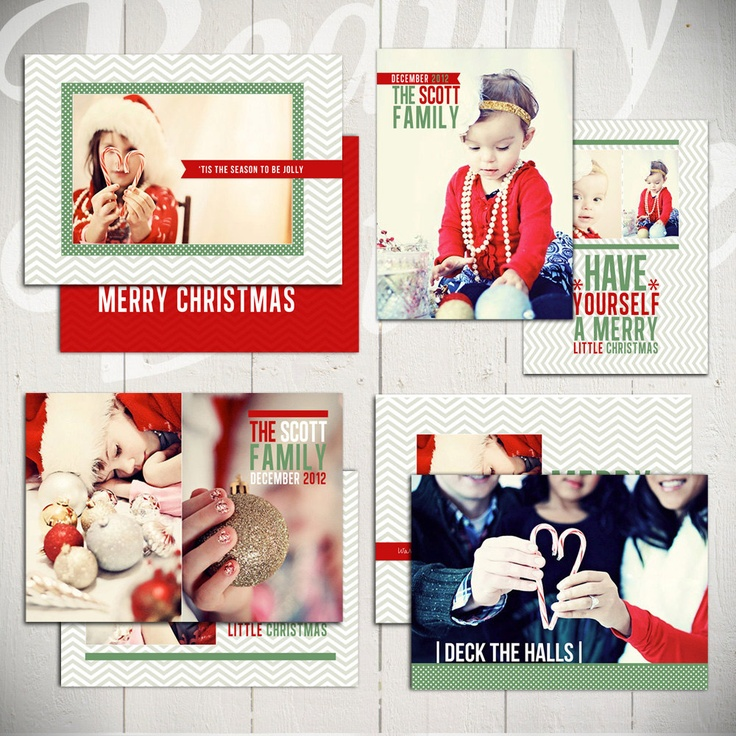 Christmas Card Templates: Deck The Halls - Set of Four Holiday Card Template for Photographers. $20.00, via Etsy.