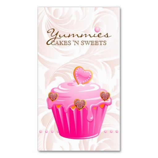 Bakery Leaf Hearts Pink Cupcake Icing Dots Business Card $35.95 per pack of 100!!