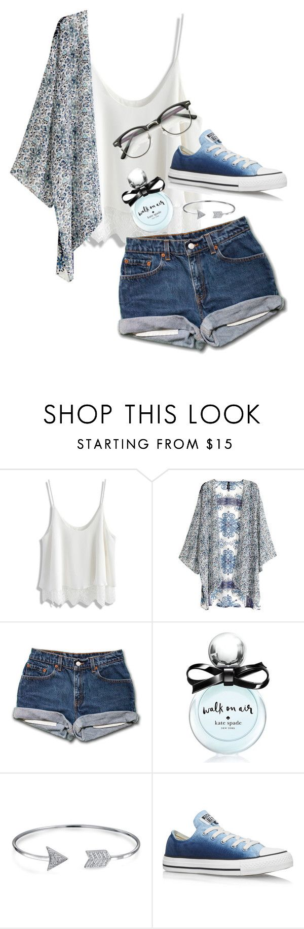 """""""Getting New Glasses"""" by syds-fashion-4-ever ❤ liked on Polyvore featuring Chicwish, H&M, Kate Spade, Bling Jewelry and Converse"""