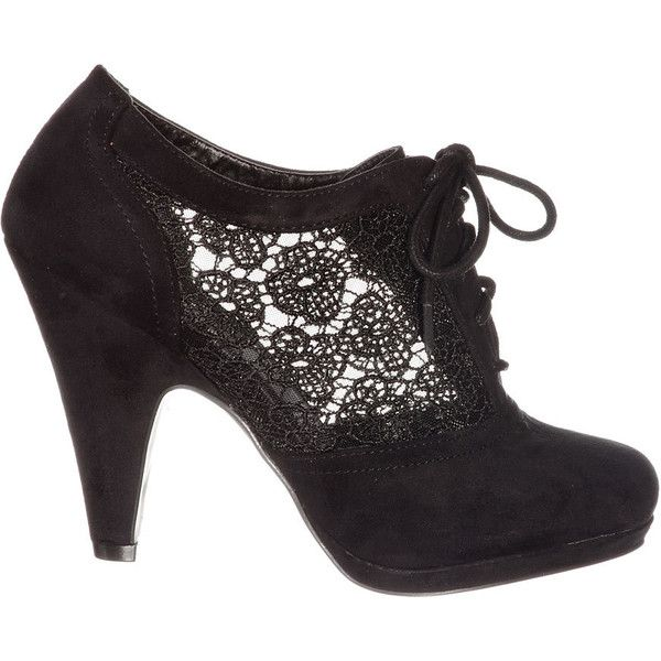Noir Lovely in Lace Oxford Bootie ($39) ❤ liked on Polyvore featuring shoes, oxford shoes, lacy shoes, lace oxford shoes, lace oxfords and lace shoes