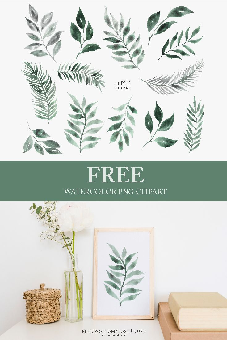 Freebie Watercolor Greenery Clipart Png Free Prints Watercolor Graphic Clip Art