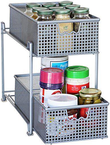 Luxury Two Tier Mesh Sliding Cabinet