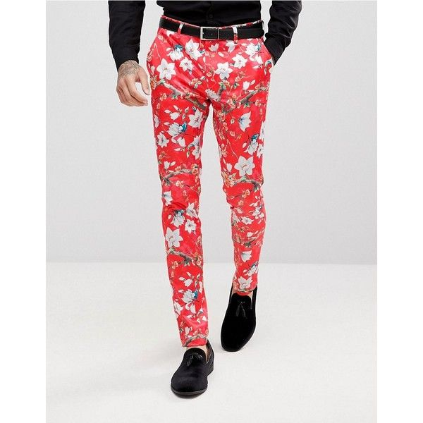ASOS Super Skinny Suit Pants With Red Peacock Print ($61) ❤ liked on Polyvore featuring men's fashion, men's clothing, men's pants, men's dress pants, red, mens red pants, mens stretch pants, mens zipper pants, mens floral pants and mens skinny dress pants