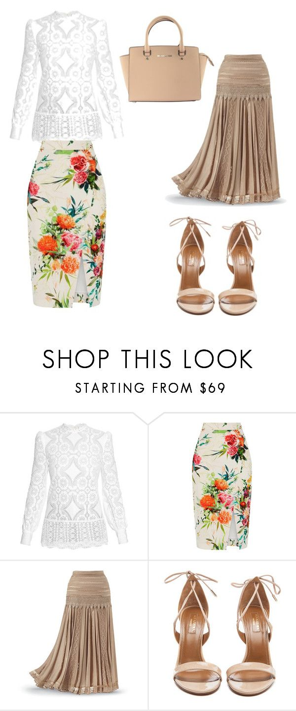 """Untitled #30"" by balog-viki on Polyvore featuring Hillier Bartley, Oasis, Aquazzura and Michael Kors"