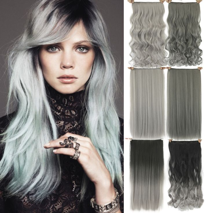 60cm Grey Hair Extension Heat Resistant Synthetic Hair Clip In Hair Extensions Black To Gray Women Hair Piece