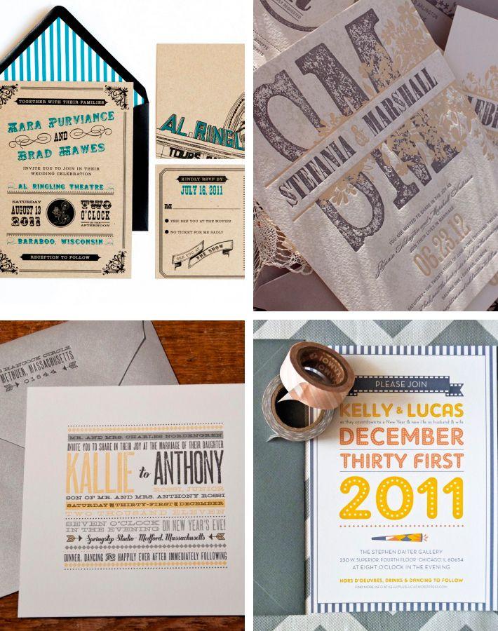 Invitación de boda estilo vintage tipográficas