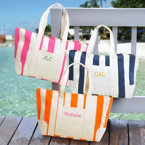 Embroidered Canvas Beach Tote by Beau-coup