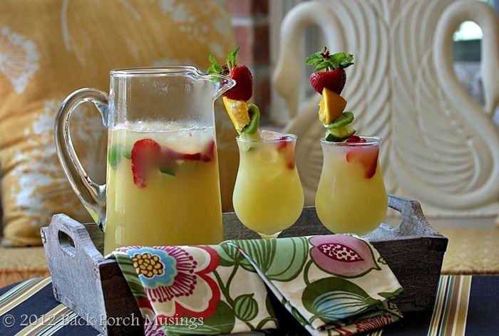 Tropical Summer punch: Pineapple Juice, Summertime Refreshing, Summer Drinks, Summer Written, Summertime Drinks, Strawberries Coolers, Summer Punch, Fruit Skewers, Pineapple Strawberries