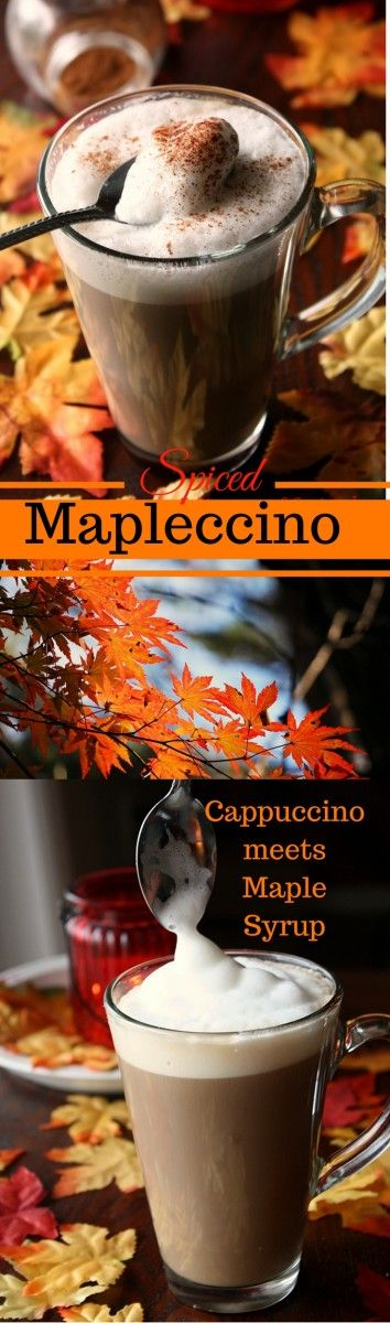 Spiced Maple Cappuccino / This autumn spiced Maple Cappuccino is simply soul warming and the perfect drink for cold, foggy days. Maple Syrup lends this Mapleccino a certain depth and a touch of sweetness, a hint of vanilla and a pinch of cinnamon add autu