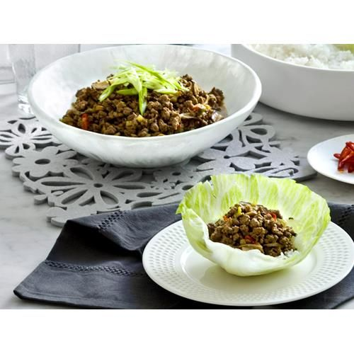 Traditionally made with pork mince, this beef version of san choy bau by Real…