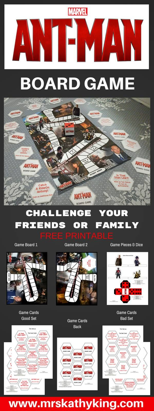 Looking for a fun AntMan board game to play? Here is a Free Ant-Man Broard Game Printable we made to celebrate the release of the movie. The game includes 36 Pick a Cards 4 Game Figures, Board & die #antmanevent #antman