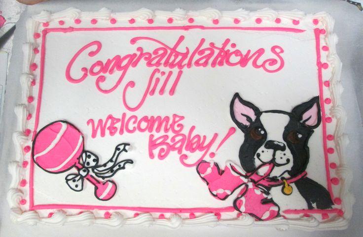 Boston Terrier baby shower cake   #babycakes #terriersbooties #cakeartwork #icingonthecakelosgatos