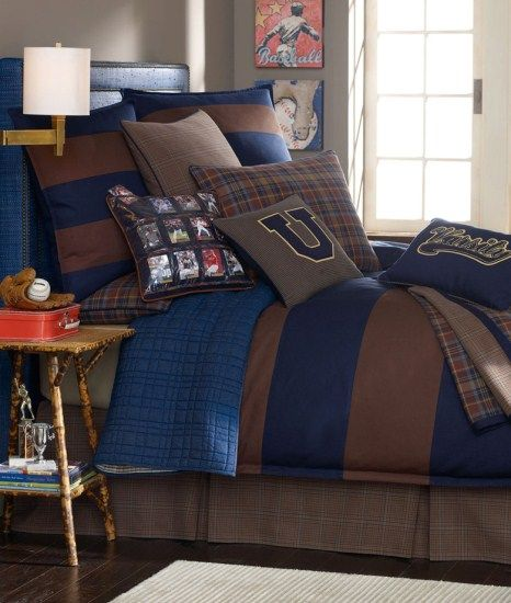 Collegiate Bedding-Collegiate Bedding for Boys  Ivy league for the young sports enthusiast.Note our pocket pillow for your child's favorite collectable cards.