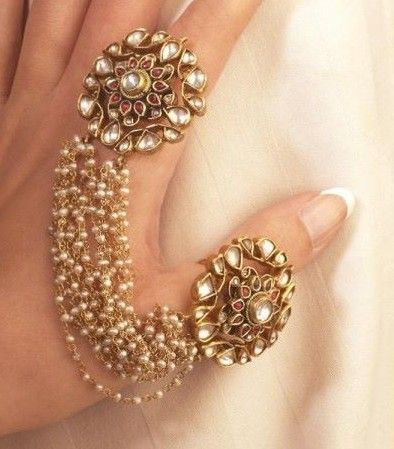 Mughal Kundan Ring Duo Attached with Pearls A Unique Piece of Art to Adorn…
