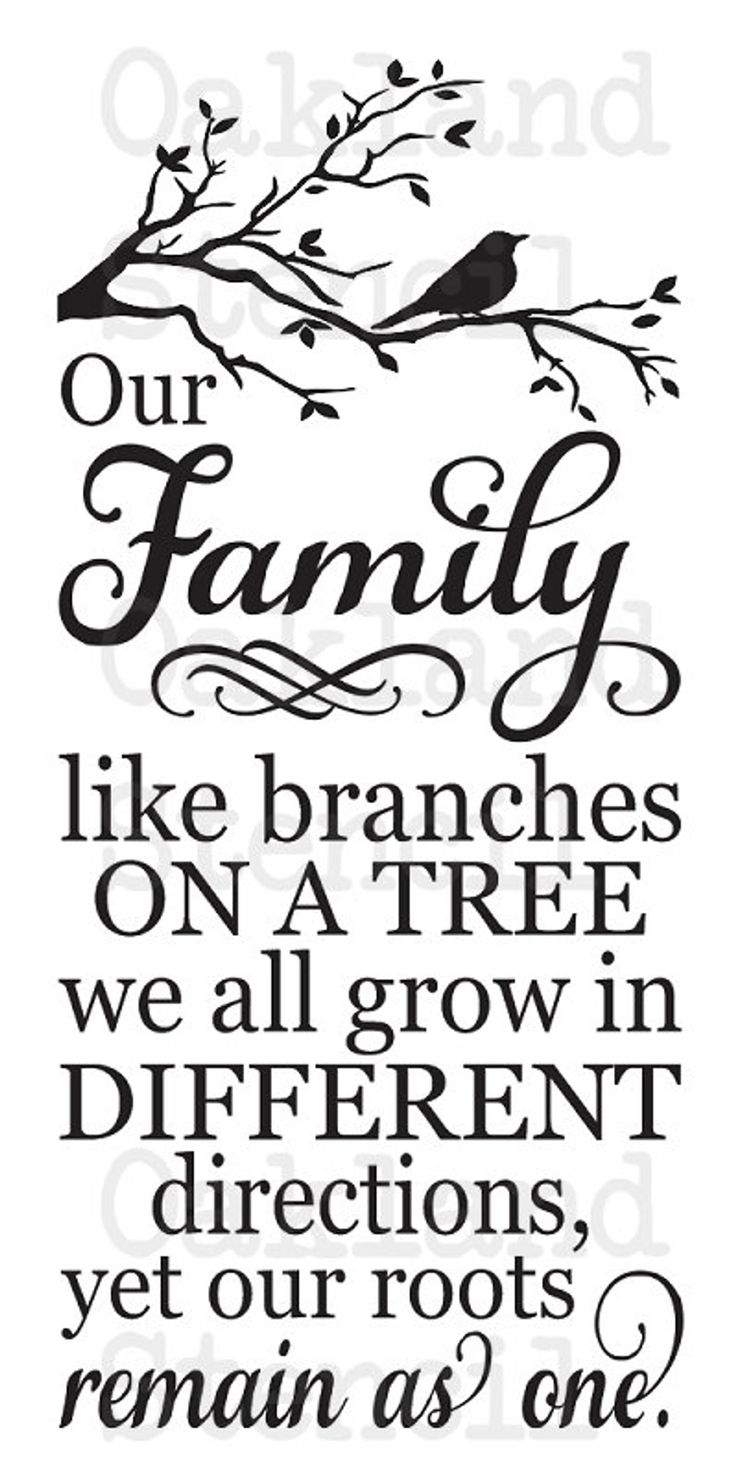 Household STENCIL **Our Household, like branches on a tree**12″x24″ for Portray Indicators, Canvas, Cloth, Wooden, Items, Crafts, Scrapbook