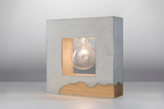 Lámpara de mesa de hormigón inscrito / hormigón y por ArdomaDesign