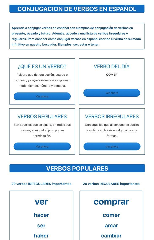 Conjugar Verbos Com Verbos En Espanol Verbos Español
