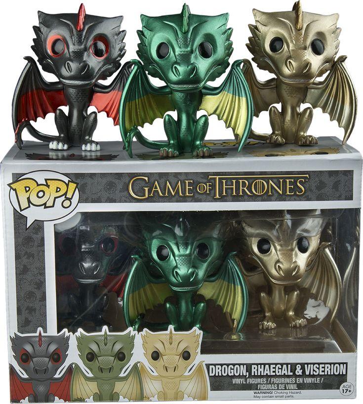 Pop! Drogon, Rhaegal, & Viserion - Game of Thrones - Metallic Game Stop Exclusive
