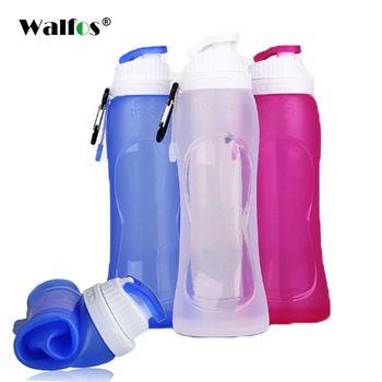 WALFOS Grau Alimentício 500 ML Criativo Dobrável Dobrável bebida Silicone Desporto Garrafa de Água Camping Viajar a minha garrafa de plástico de bicicleta