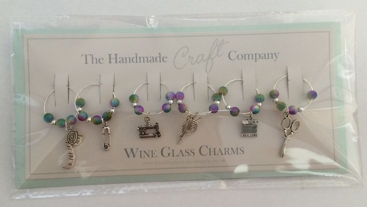 set of 6 sewing themed wine glass charms, prettify and identify your wine glass, or coffee mug :)