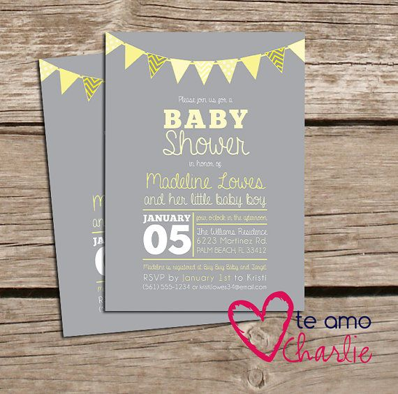 Printable Gender Neutral Baby Shower Invitations Yellow Gray