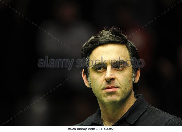 Berlin, Germany. 07th Feb, 2016. English professional snooker player Ronnie O'Sullivan serves as co-commentator for Eurosport during the 2016 Snooker German Masters final in Berlin, Germany, 07 February 2016. Photo: ROLAND POPP/dpa - NO WIRE SERVICE -/dpa/Alamy Live News - Stock Image