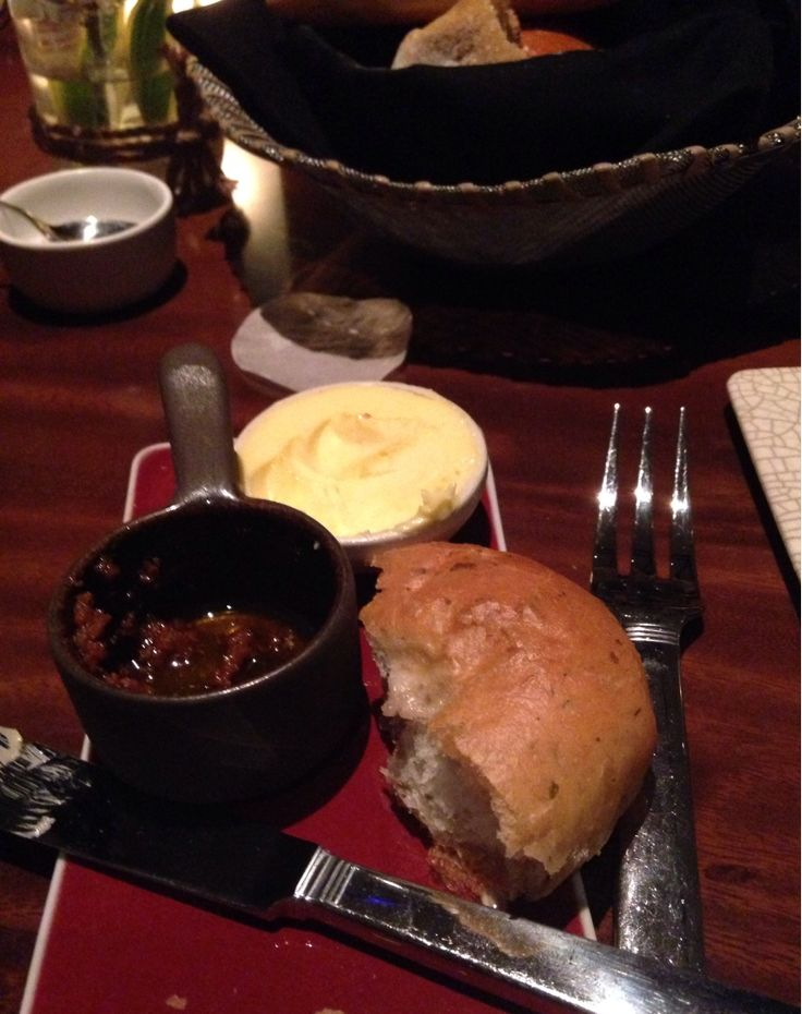 Warm olive bread with tapenade at Cut, Catch, Cucina