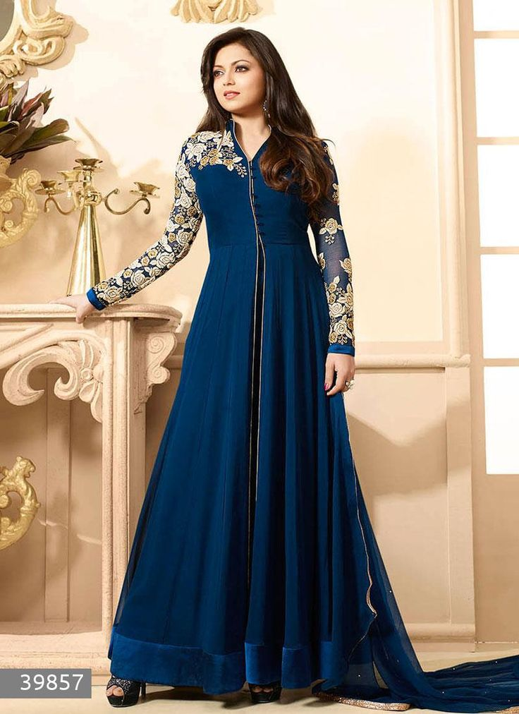 Buy Fabfiza Stylish Dark Blue Georgette Designer Anarkali Suit online, Latest Fabfiza Stylish Dark Blue Georgette Designer Anarkali Suit by Fabfiza | latest Anarkalis Shopping online at Craftsvilla