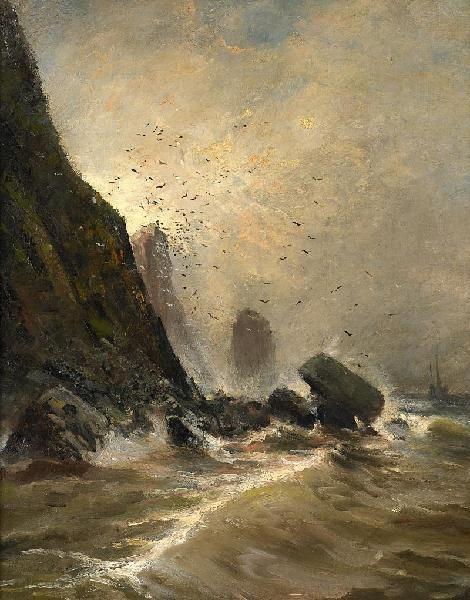 """Andreas Achenbach, """"Steilküste auf Helgoland"""""""