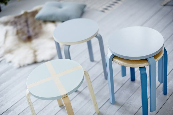 Painted wooden stools. http://www.anza.co.uk/tips-and-inspiration/articles/painting-stools