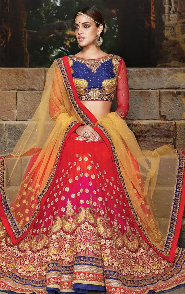 Show details for Exquisite Pink and Orange Wedding Lehenga Choli