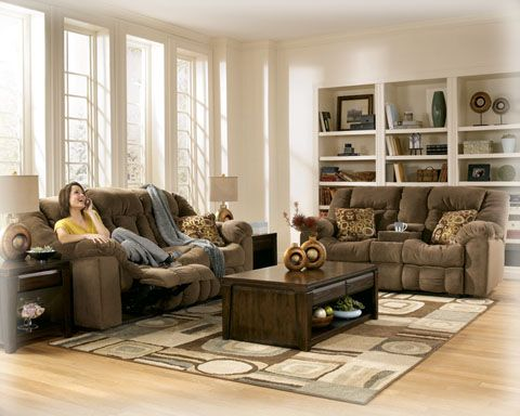 Macie Brown Double Rec Loveseat W Console Loveseats